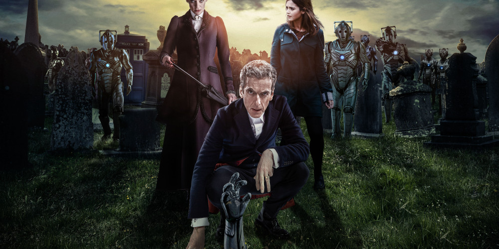 Picture shows: MICHELLE GOMEZ as Missy, PETER CAPALDI as The Doctor, JENNA COLEMAN as Clara, Cybermen