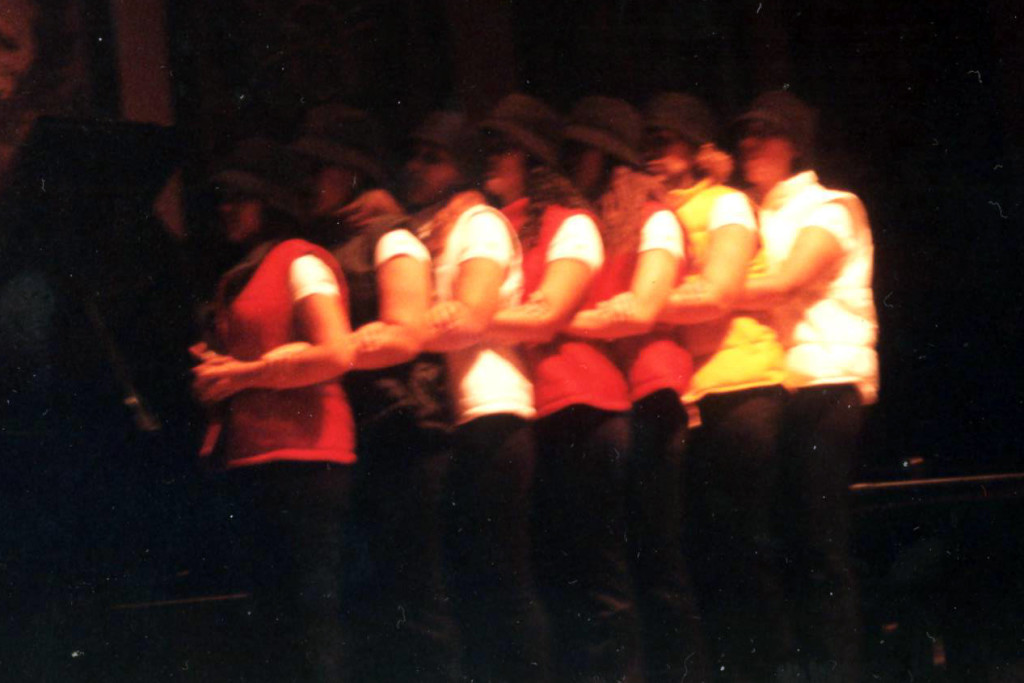 Members of a Latina sorority perform in Gaston Hall at Georgetown University in 1999.