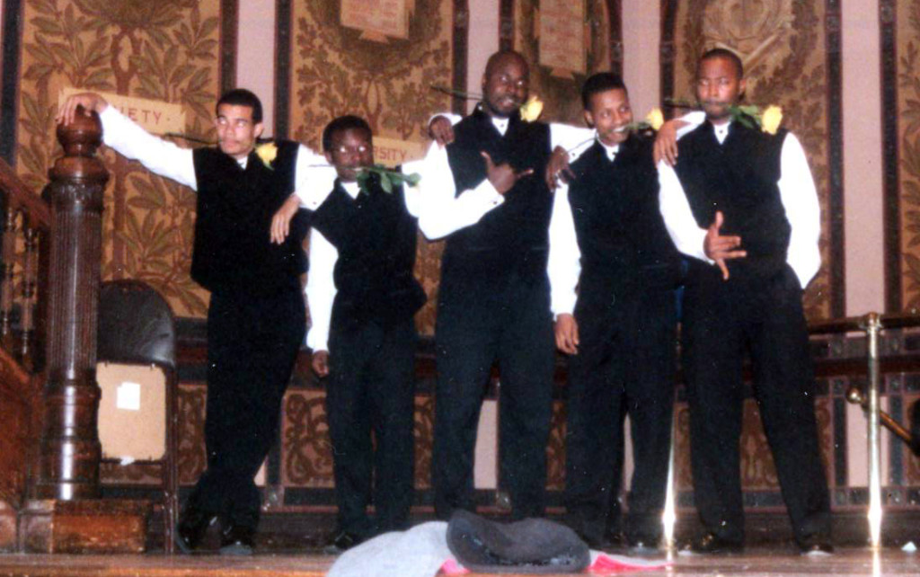 Members of an African American fraternity perform in Gaston Hall at Georgetown University, circa 1999.